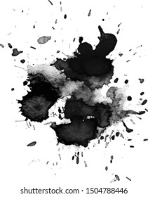 Black watercolor stain. Texture grunge background