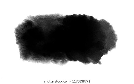 Black watercolor stain with wash and splashes. Vector in watercolor style for Black Friday, Halloween background
