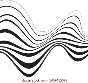 Black waved vector stripes background. For prints, banners and web