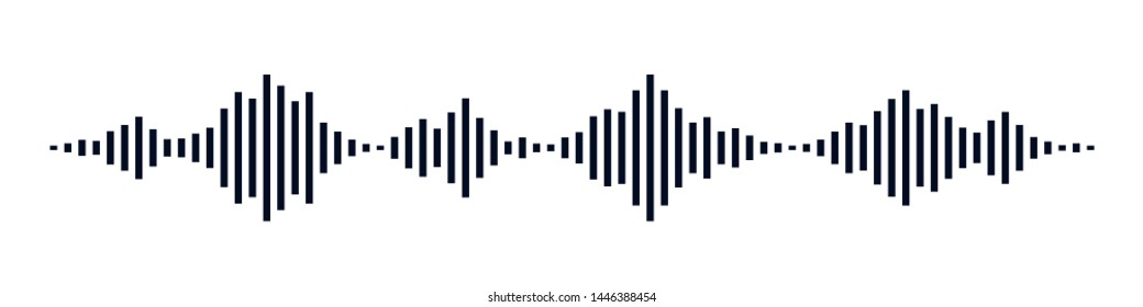 Black waves as equalizer isolated on black background. Vector Illustration