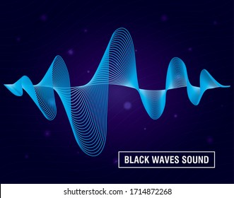 black waves sound purple background vector illustration design