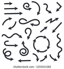 Black wavy arrows set. Flat web icons. Vector illustration isolated on white background