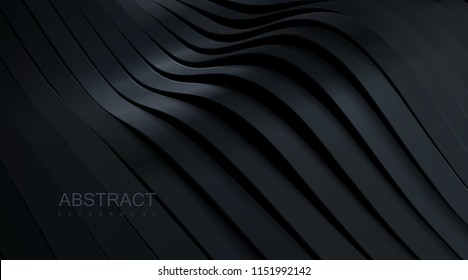 Black wavy stripes background. Abstract papercut decoration. 3d topography relief. Vector realistic illustration. Modern cover layout template. Architectural concept