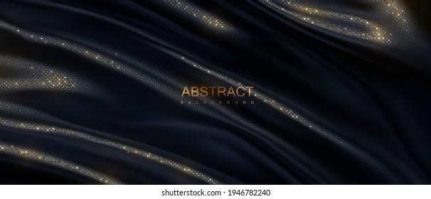 Black wavy textile with golden glitters pattern. Abstract luxury background. Vector 3d illustration. Draped silky fabric. Cloth texture. Decoration for poster or banner design