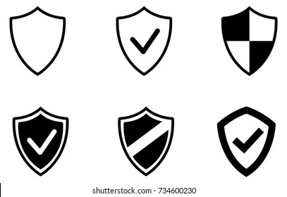 Black web security shield vector icons collection on white background