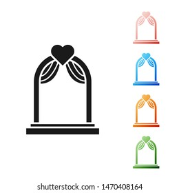 Black Wedding arch icon isolated on white background. Wedding decoration. Set icons colorful. Vector Illustration