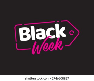 Black Week Friday design sale title banner simple vector