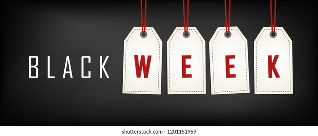Black week sale white tags advertising on black background vector illustration