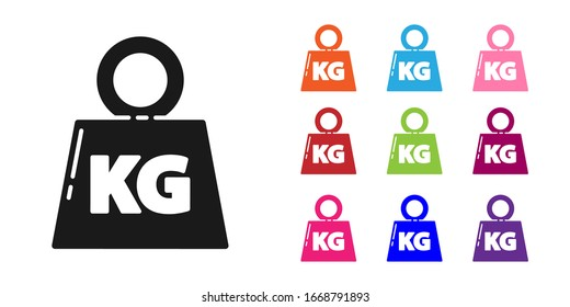 Black Weight icon isolated on white background. Kilogram weight block for weight lifting and scale. Mass symbol. Set icons colorful. Vector Illustration