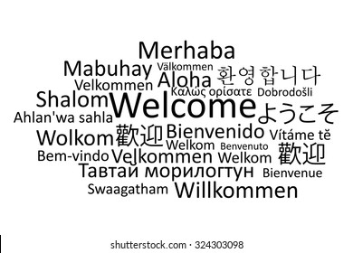 Black welcome in different languages vector