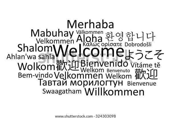 Black Welcome Different Languages Vector Stock Vector Royalty Free 324303098