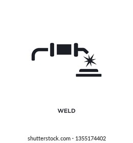 black weld isolated vector icon. simple element illustration from industry concept vector icons. weld editable logo symbol design on white background. can be use for web and mobile