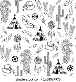 Black western style elements seamless pattern design