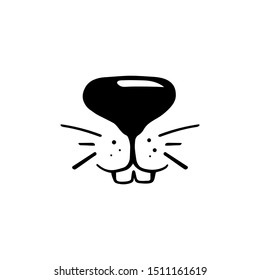 Black and while rabbit face vector illustration. Cute rabbit icon. Animal nose and teeth logo for veterinarian or pet shop. Domestic animal symbol. Hare teeth drawing. Cute bunny stamp