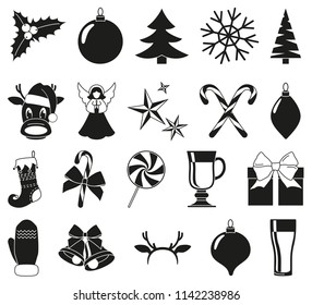 Black and white 20 christmas elements. New year holiday decorations. Xmas themed vector illustration for icon, logo, sticker, patch, label, sign, badge, certificate or gift card decoration