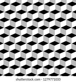 black and white 3d cube geometric basic pattern vector