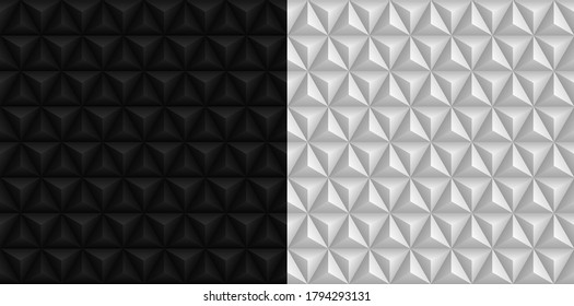 Black and white 3D triangles pyramids backgrounds. Geometric hexagons, diamonds seamless patterns. Vector illustration.