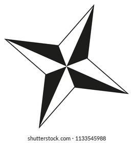 Black and white 4 point star silhouette. Xmas tree decoration. Symbol of success. Christmas themed vector illustration for icon, sticker, patch, label, sign, badge, certificate or poster decoration