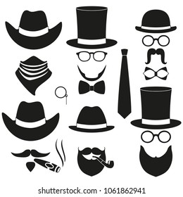 Black and white 6 silhouette man avatar element set. Hipster vector illustration for gift card certificate sticker, badge, sign, stamp, logo, label, icon, poster, patch, banner invitation
