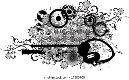 A black and white abstract background pattern with intricate floral ornaments and headphones