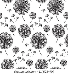 black and white abstract dandelion flowers seamless pattern. summer floral repeatable motif for seamless pattern for background, wrapping paper, fabric, surface design