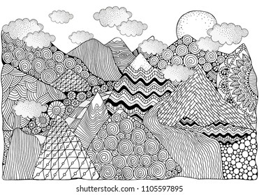 Black and white abstract fantasy picture. doodle mountains, sun and river. Pattern for coloring book. Hand-drawn, design elements. Zentangle
