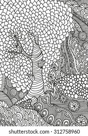 Black and white abstract fantasy picture. Old tree, leaf. Eco theme. Pattern for coloring book. Hand-drawn, ethnic, retro, doodle, vector, zentangle, tribal design element.  Zentangle. A4 size