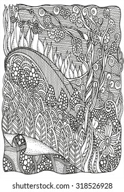Black and white abstract fantasy picture. Old tree, leaf. Eco theme. Pattern for coloring book. Hand-drawn, ethnic, retro, doodle, vector, zentangle, tribal design element.  Zentangle.
