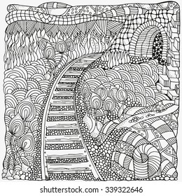 Black and white abstract fantasy picture. Long Road. Eco theme. Pattern for coloring book. Hand-drawn, ethnic, retro, doodle, vector, zentangle, tribal design element.  Zentangle.