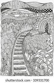 Black and white abstract fantasy picture. Railway. Long Road. Eco theme. Pattern for coloring book. Hand-drawn, ethnic, retro, doodle, vector, zentangle, tribal design element.  Zentangle.