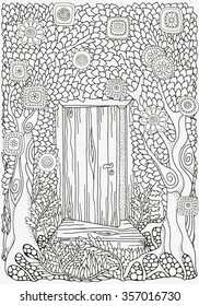 Black and white abstract fantasy picture. Old tree, leaf, door. Eco theme. Pattern for coloring book. Hand-drawn, ethnic, retro, doodle, vector, zentangle, tribal design element.  Zentangle.
