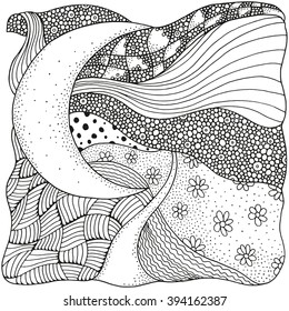 Black and white abstract fantasy picture. Moonlight. Long Road. Eco theme. Pattern for coloring book. Hand-drawn, ethnic, retro, doodle, vector, zentangle, tribal design element.  Zen art. Zentangle.