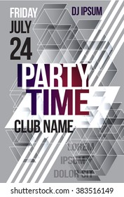 Black and white abstract flyer or brochure template graphic design. Poster for a night club event. party time cover. Vector Billboard nightclub