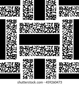 Black and white abstract geometric pattern. Monochrome vector background