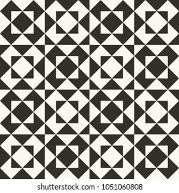 Black and white abstract geometric quilt pattern. High contrast geometric background with triangles. Simple colors - easy to recolor. Minimal background. Vector illustration.