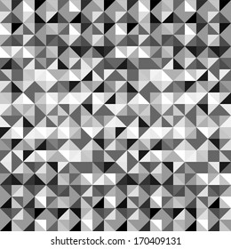Black and white abstract geometric triangles seamless pattern, vector