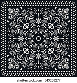 Black and white abstract graphic square background with Mandala geometric pattern. Bandanna fabric print, silk neck scarf or kerchief design, vector ornate illustration.