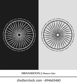 Black and white abstract and isolated ornaments. Sophisticated circular vectors including star, organic, flower, floral, atom, and geometric shapes.