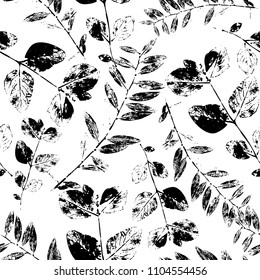 Black and White Abstract leaves silhouette seamless pattern. Hand drawn leaf silhouettes with scribble textures. Natural elements in monochrome colors. Vector grunge design for surface design