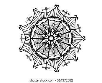 black and white abstract ornament doodle