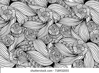 Black and white abstract  pattern for coloring.Hand- drawing doodles. Art therapy coloring page.