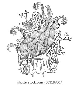 Black and white abstract picture.bunny on the stump. Pattern for coloring book. Hand-drawn, doodle, vector, zentangle, design element.