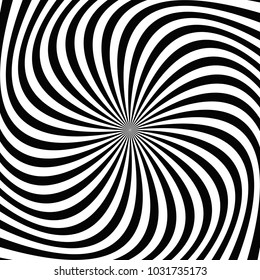 Black and white abstract spiral ray background