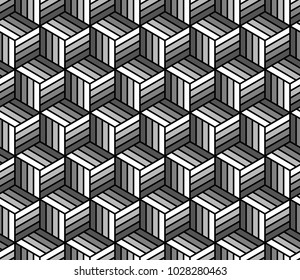 Black and white abstract striped cubes geometric seamless pattern, vector