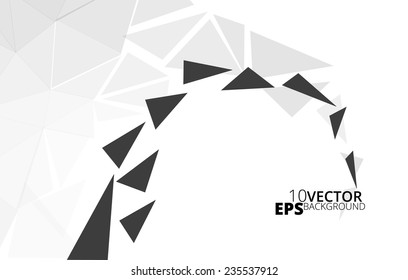 Black and White Abstract triangle background, vector illustration eps10