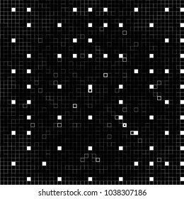 Black And White Abstract Vector Background Of Squares. Cube Halftone Monochrome Backdrop. Futuristick Graphic Design
