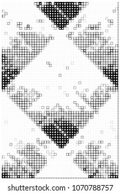 Black And White Abstract Vector Background Of Square Shapes. Cube Halftone Monochrome Backdrop. Futuristic Graphic Design. Blocks Geometric Pattern