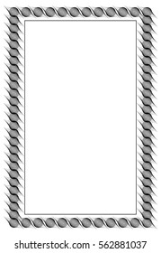 Black and white abstract vertical frame. Guilloche border for certificate or diploma, isolated. Vector clip art.
