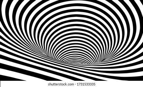 Black and white abstract wormhole. Optical illusion. Twisted vector illustration. 3D tunnel.