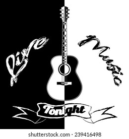 Black and white acoustic guitar poster template.